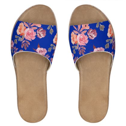 Royal Blue Floral Dream  Womens Leather Sliders
