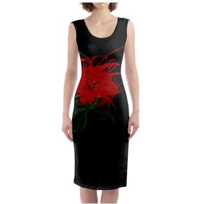 Bodycon dress - Fodralklänning - Red spanish flower black