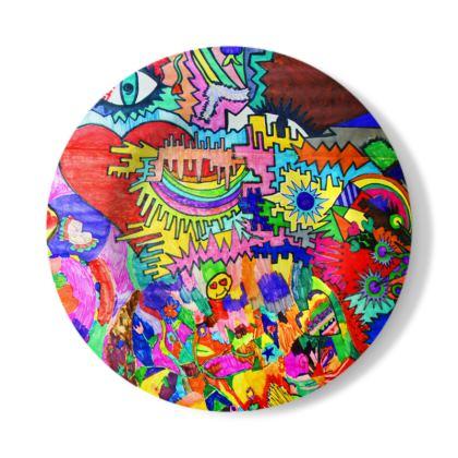 Pop Art Heart by Elisavet Decorative Plate