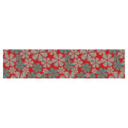 Snowflakes Table Runner (Red/Aqua)