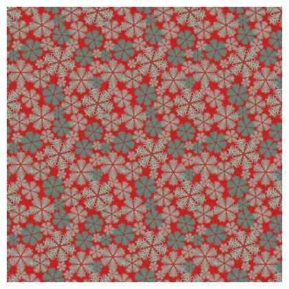 Snowflakes Tablecloth (Red/Aqua)