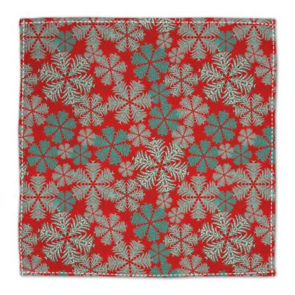 Snowflakes Napkins (Red/Aqua)