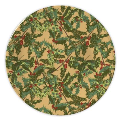 Holly China Plate (Vintage Gold)