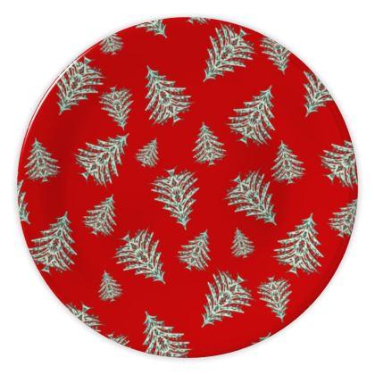 Tiny Trees China Plates (Red)