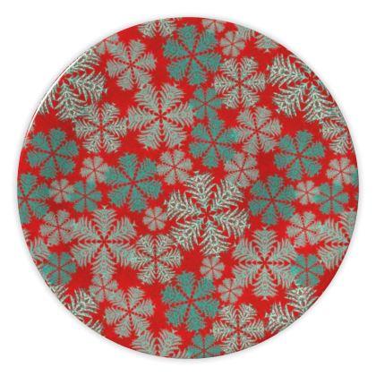 Snowflakes China Plate (Red/Aqua)