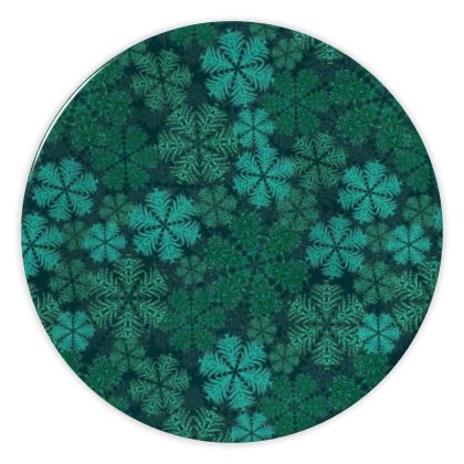 Snowflakes China Plate (Teal)