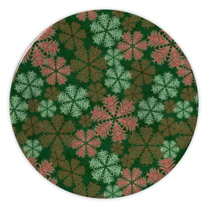 Snowflakes China Plate (Red/Green)