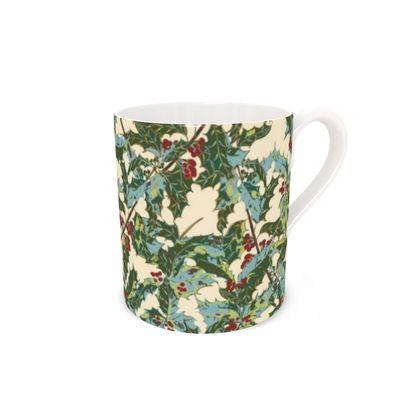 Holly Bone China Mug (Cream)