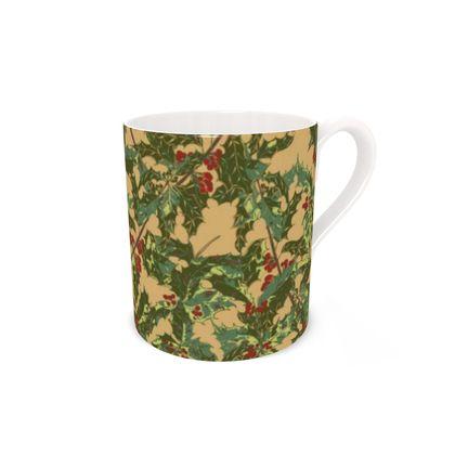 Holly Bone China Mug (Vintage Gold)