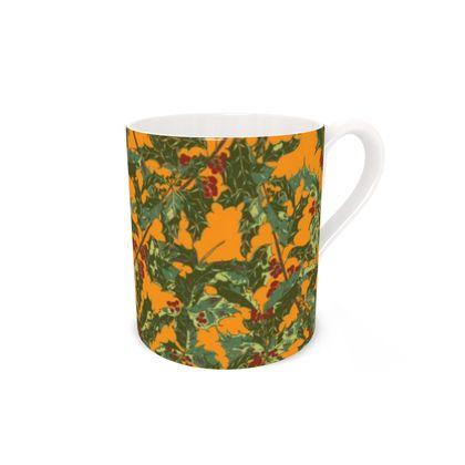 Holly Bone China Mug (Bold Yellow)