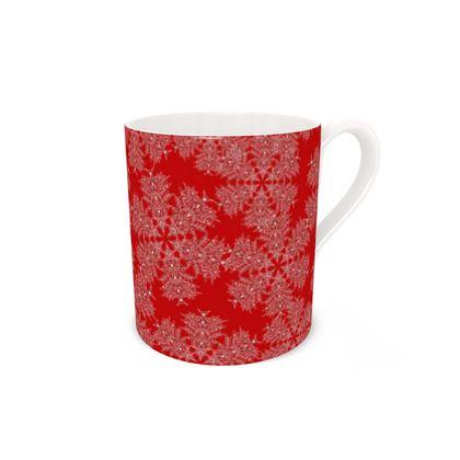 Red Festive Bone China Mug