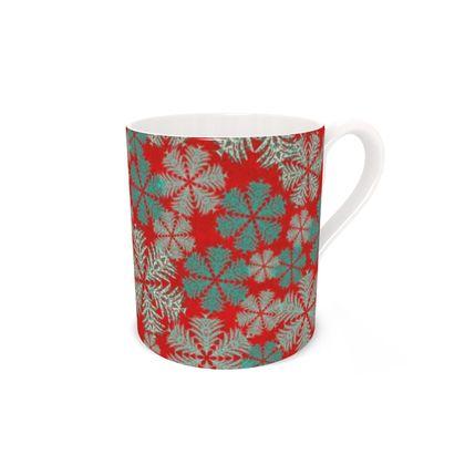 Snowflakes Bone China Mug (Red/Aqua)