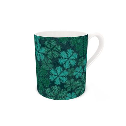 Snowflakes Bone China Mug (Teal)