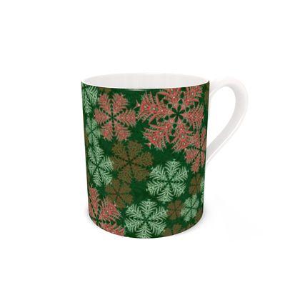 Snowflakes Bone China Mug (Red/Green)