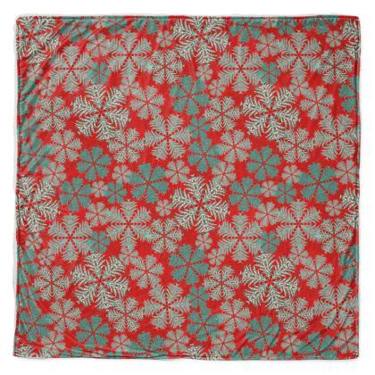 Snowflakes Throw Blanket (Red/Aqua)