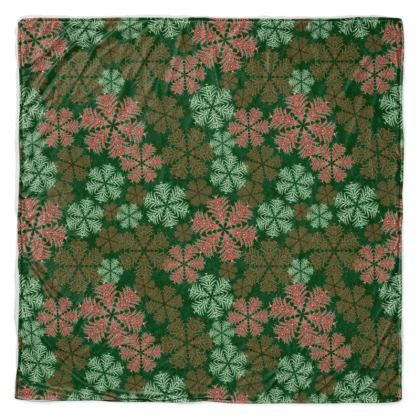 Snowflakes Throw Blanket (Red/Green)