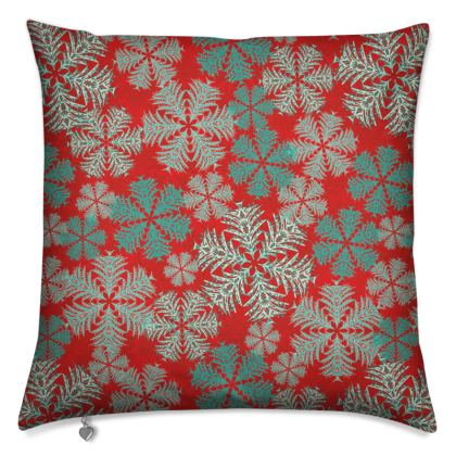 Snowflakes Cushion (Red/Aqua)