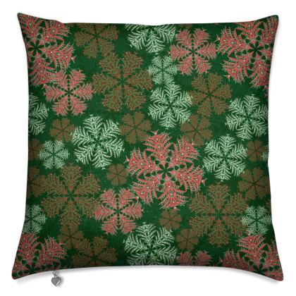 Snowflakes Cushion (Red/Green)