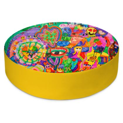 Pop Art Colorful City by Elisavet Round Floor Cushions