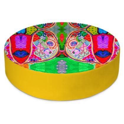 Pop Art Butterfly by Elisavet Round Floor Cushions