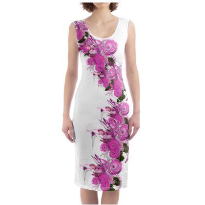 Bodycon dress - Fodral klänning - Pink summer fantasy white