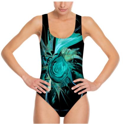 Swimsuit - Baddräkt - Turquoise Flower Black