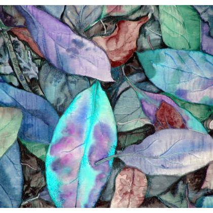 Autumn Leaf Blue Cushion