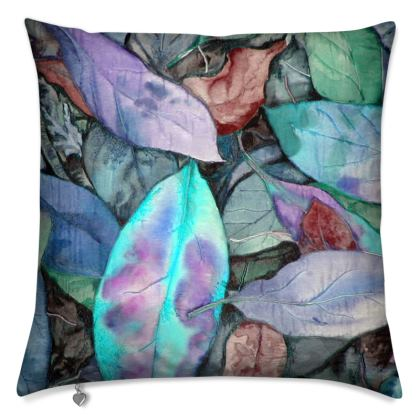Autumn Leaf Blue Cushion
