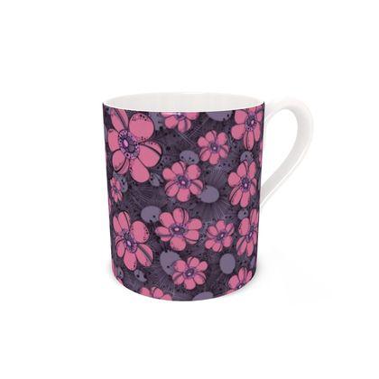 Bone China Mug - Purple Flower Burst
