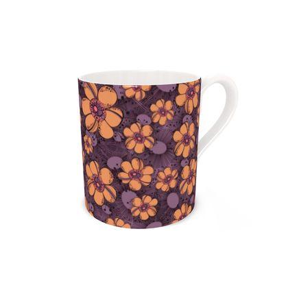 Bone China Mug - Orange Flower Burst