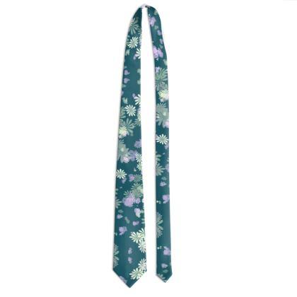 Tie - Florals in Aqua Blue