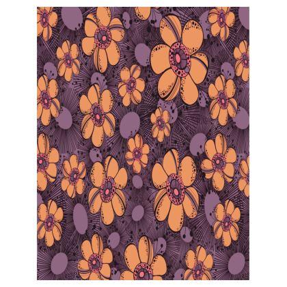 Large Tray 43x33cm - Orange Flower Burst
