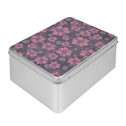 Biscuit Tin - Purple Flower Burst