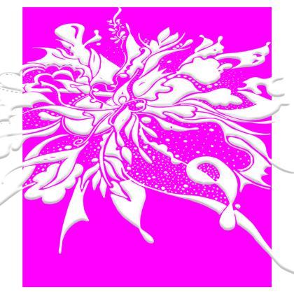 Skater dress - Skater klänning - White Ink hot pink
