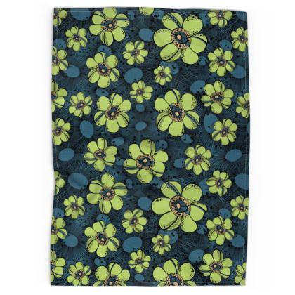 Tea Towel - Lime Flower Burst
