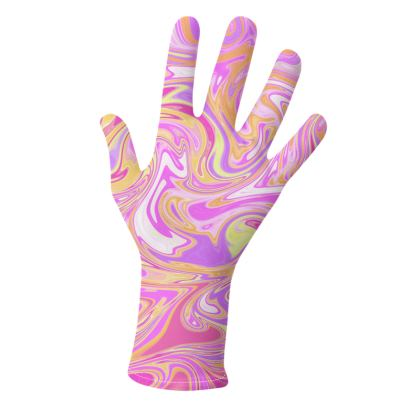 Pink Marbling Abstract Gloves