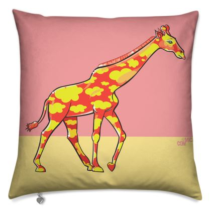 COMMIC Africa double header cushion - Giraffe/Rhino