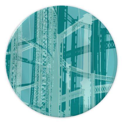 CHINA PLATES - Geometrical Gasholder AQUA