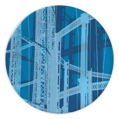 CHINA PLATES - Geometrical Gasholder bLUE