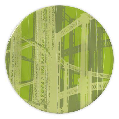 CHINA PLATES - Geometrical Gasholder GREEN