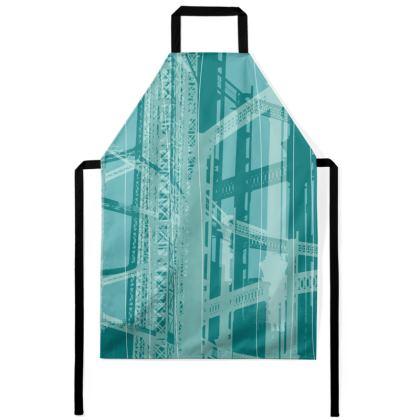 Apron - Geometrical Gasholder Aqua Blue