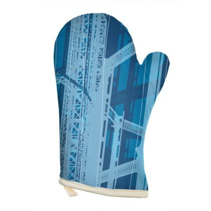 OVEN GLOVES - Gasometer Geometrical blue