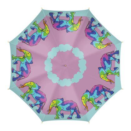 COMMIC Africa - Colourful umbrella featuring Rainbow Elephant