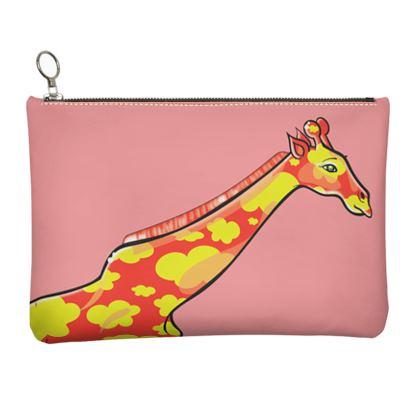 COMMIC Africa - Leather clutch featuring Cloudy Giraffe