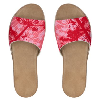 Women's Sliders - Red Floral
