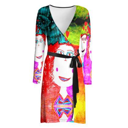 Pop Art Kids Love by Elisavet Wrap Dress