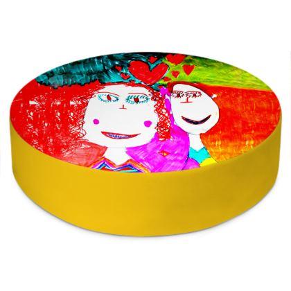 Pop Art Kids Love by Elisavet Round Floor Cushions
