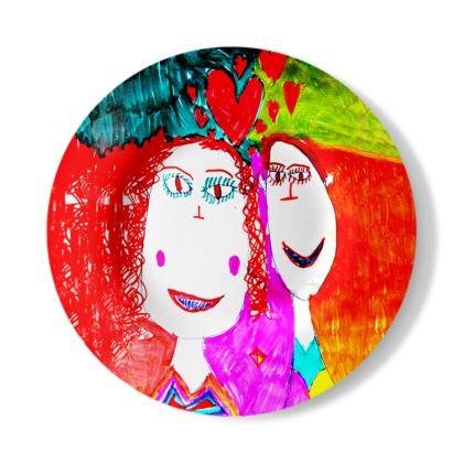 Pop Art Kids Love by Elisavet Decorative Plate
