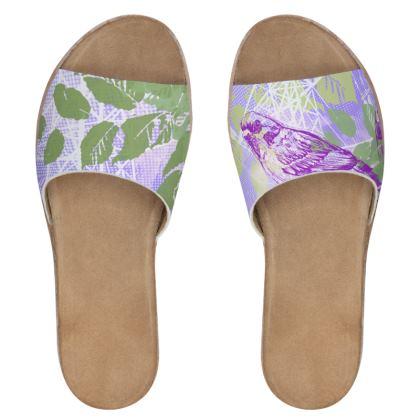 Women's Sliders - Purple Floral