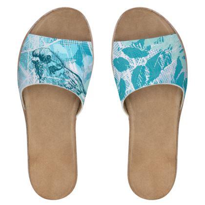 Women's Sliders - Aqua Floral and Bird